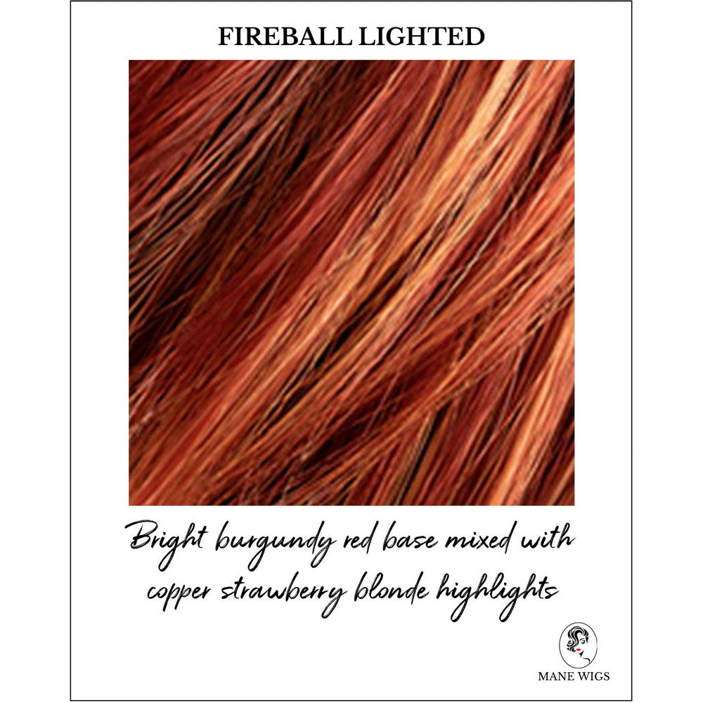 Fireball Lighted-Bright burgundy red base mixed with copper strawberry blonde highlights