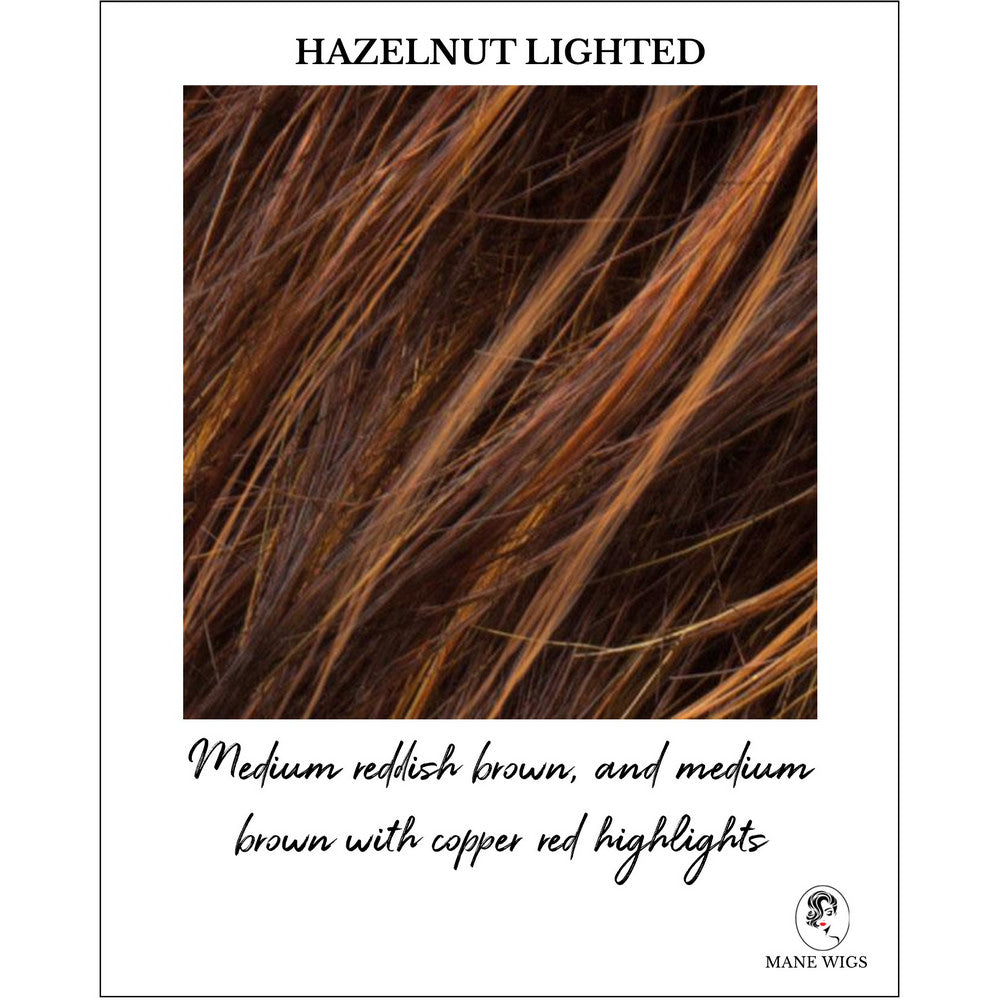 Hazelnut Lighted-Medium reddish brown, and medium brown with copper red highlights
