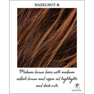 Hazelnut-R-Medium brown base with medium reddish brown and copper red highlights and dark roots