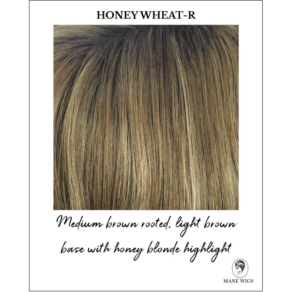 Honey Wheat-R-Medium brown rooted, light brown base with honey blonde highlight