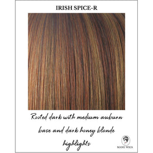 Irish Spice-R-Rooted dark with medium auburn base and dark honey blonde highlights
