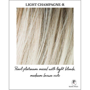 Light Champagne-R-Pearl platinum mixed with light blonde, medium brown roots