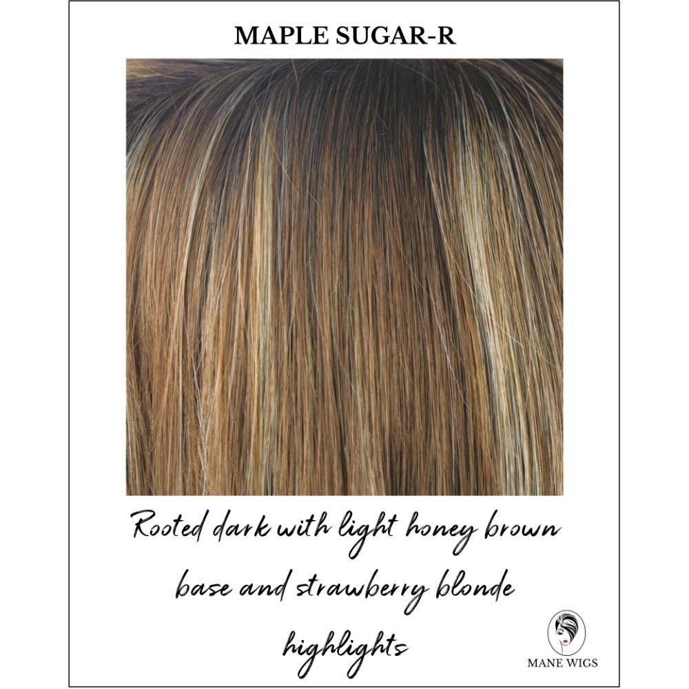 Maple Sugar-R - Rooted dark with light honey brown base and strawberry blonde highlights