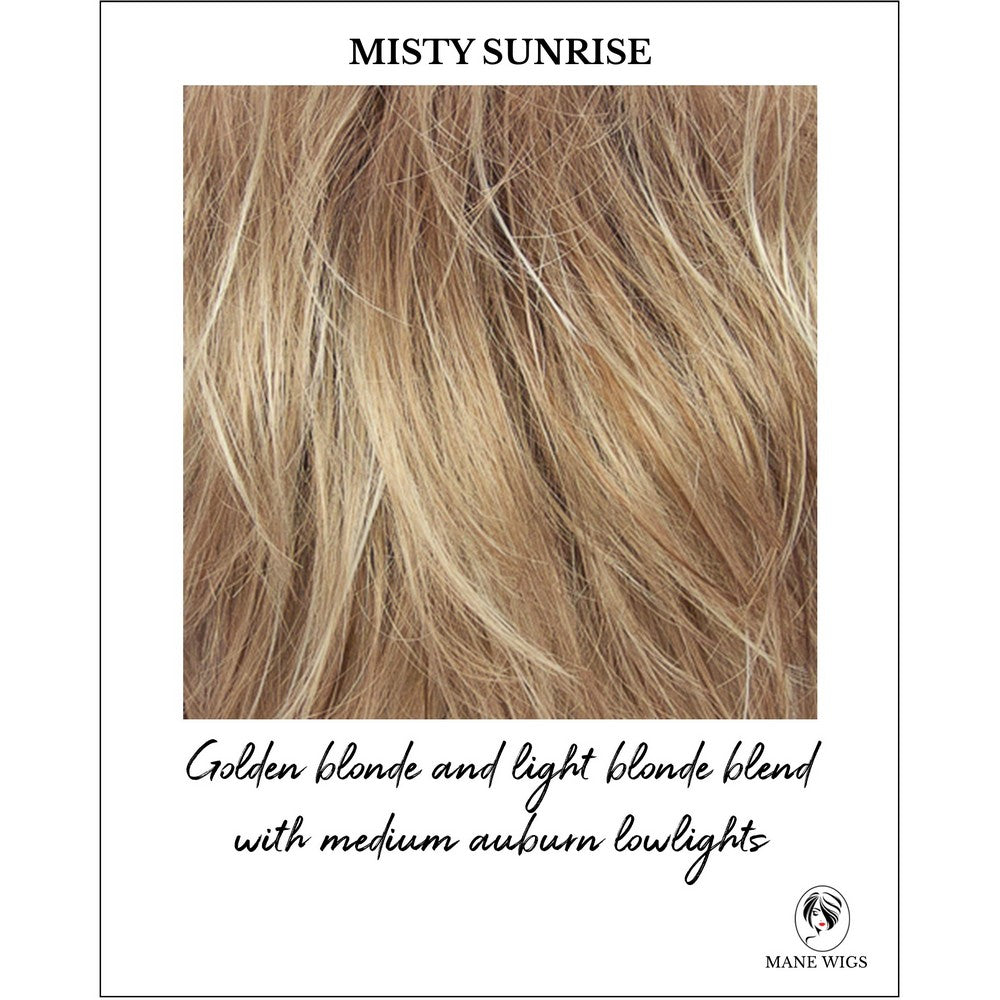 Misty Sunrise-Golden blonde and light blonde blend with medium auburn lowlights