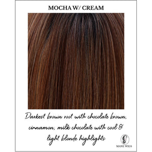 Mocha with Cream-Darkest brown root with chocolate brown, cinnamon, milk chocolate with cool & light blonde highlights