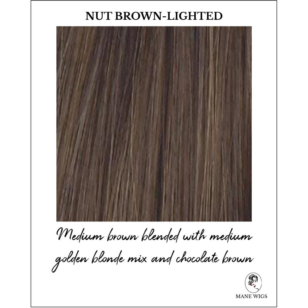 Nut Brown Lighted-Medium brown blended with medium golden blonde mix and chocolate brown