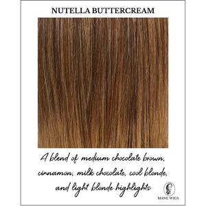 Nutella Buttercream-A blend of medium chocolate brown, cinnamon, milk chocolate, cool blonde, and light blonde highlights