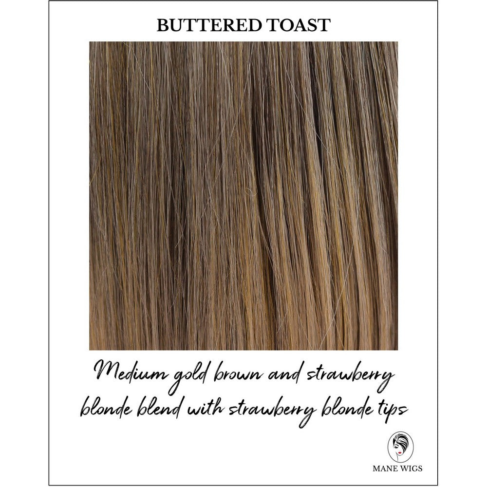 Buttered Toast-Medium gold brown and strawberry blonde blend with strawberry blonde tips