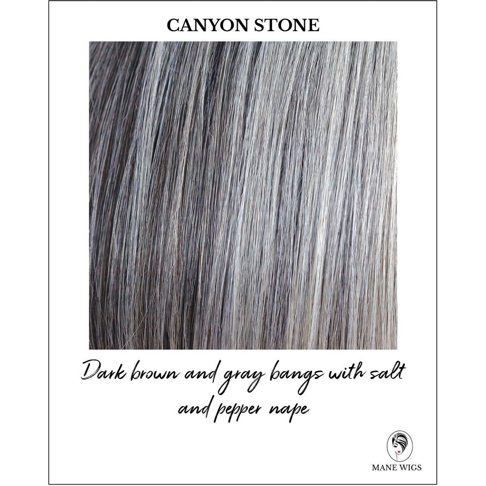 Canyon Stone-Dark brown and gray bangs with salt and pepper nape