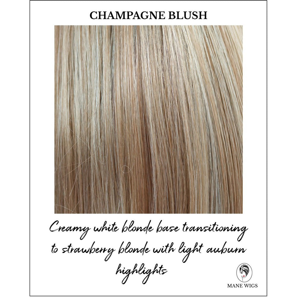 Champagne Blush-Creamy white blonde base transitioning to strawberry blonde with light auburn highlights
