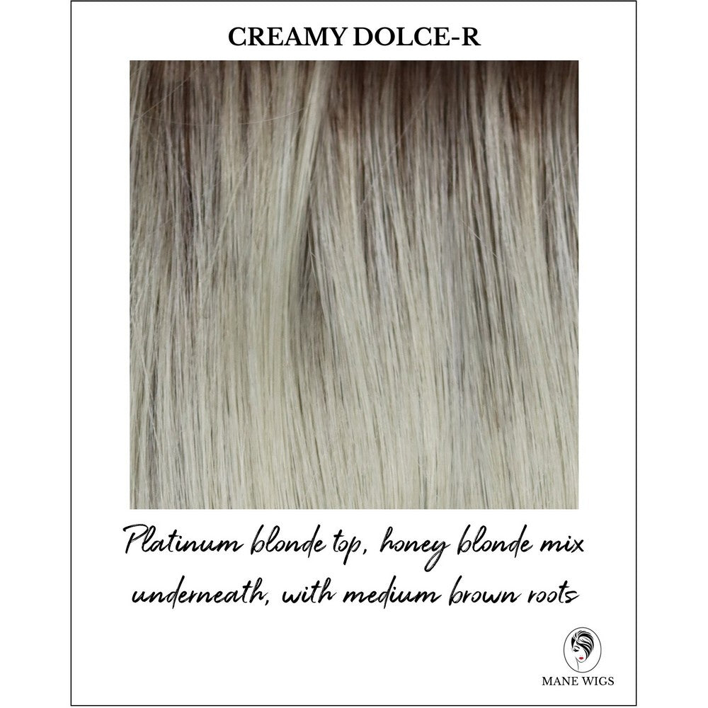 Creamy Dolce-R-Platinum blonde top, honey blonde mix underneath, with medium brown roots