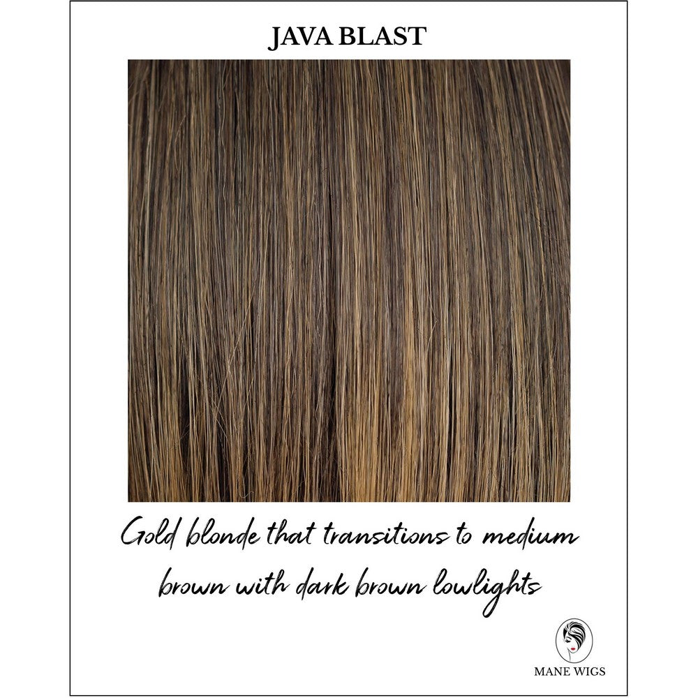 Java Blast-Gold blonde that transitions to medium brown with dark brown lowlights