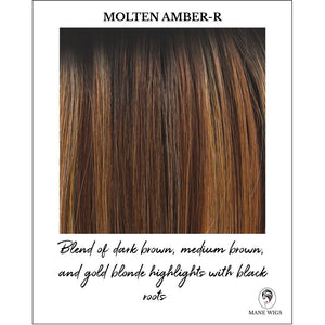 Molten Amber-R-Blend of dark brown, medium brown, and gold blonde highlights with black roots