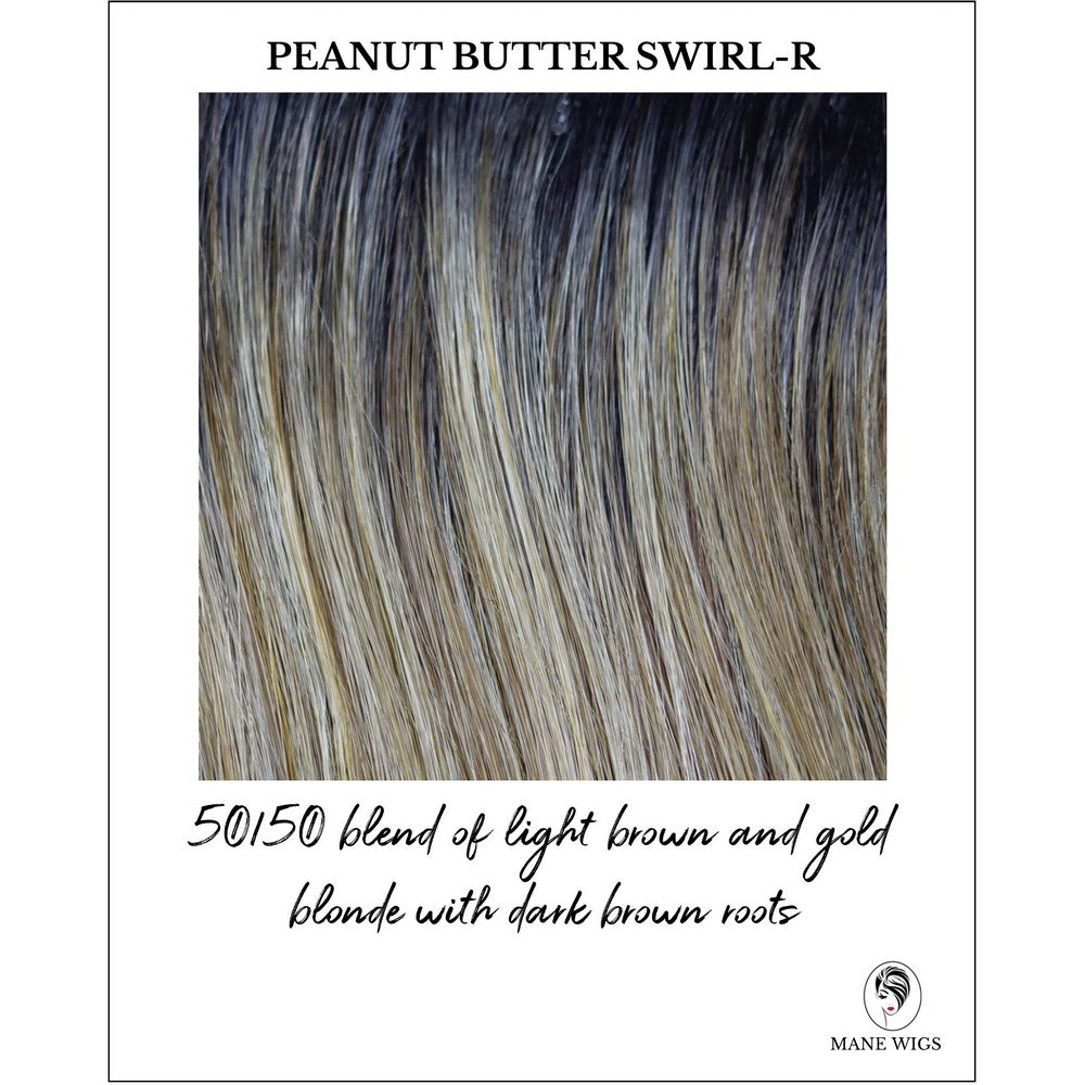 Peanut Butter Swirl-R-50/50 blend of light brown and gold blonde with dark brown roots