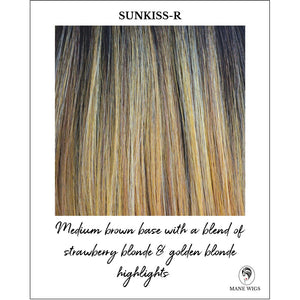 Sunkiss-R-Medium brown base with a blend of strawberry blonde & golden blonde highlights