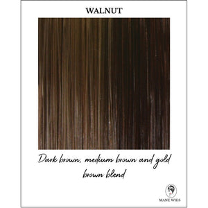 Walnut-Dark brown, medium brown and gold brown blend