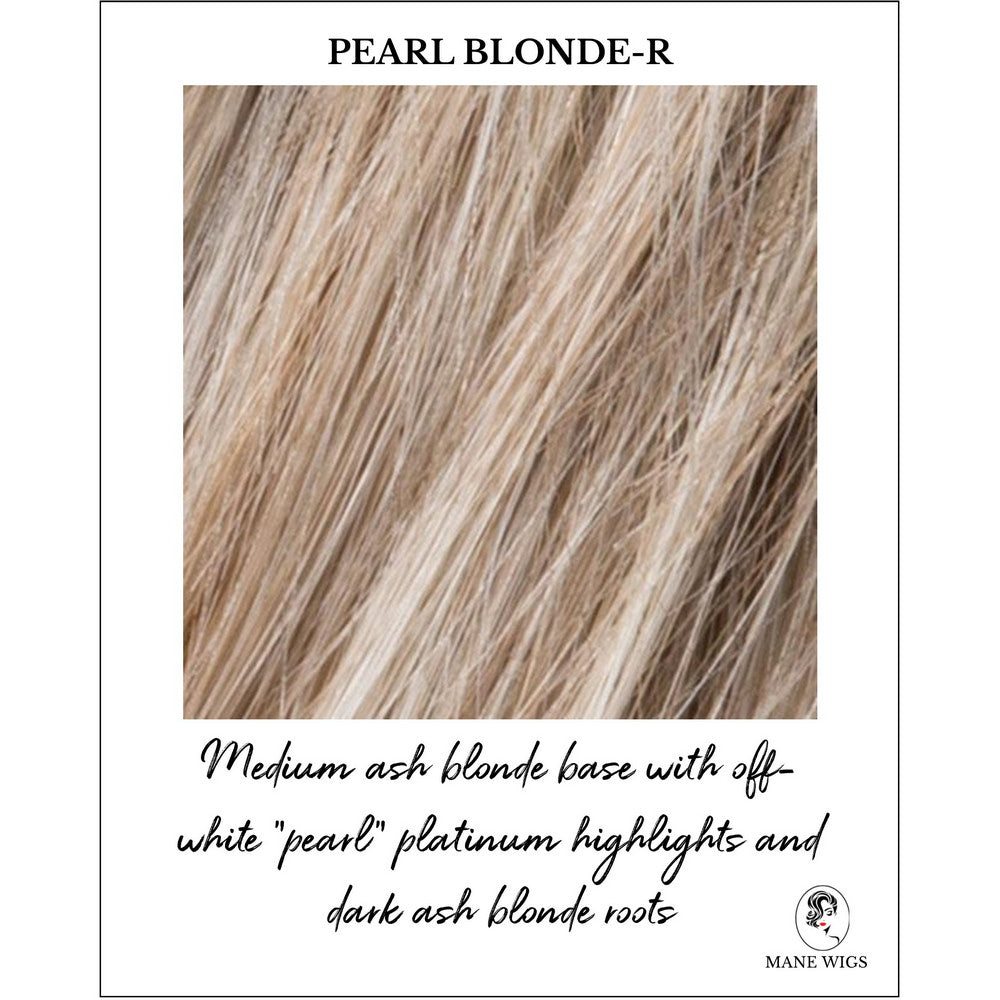 "Pearl Blonde-R_Medium ash blonde base with off-white ""pearl"" platinum highlights and dark ash blonde roots"