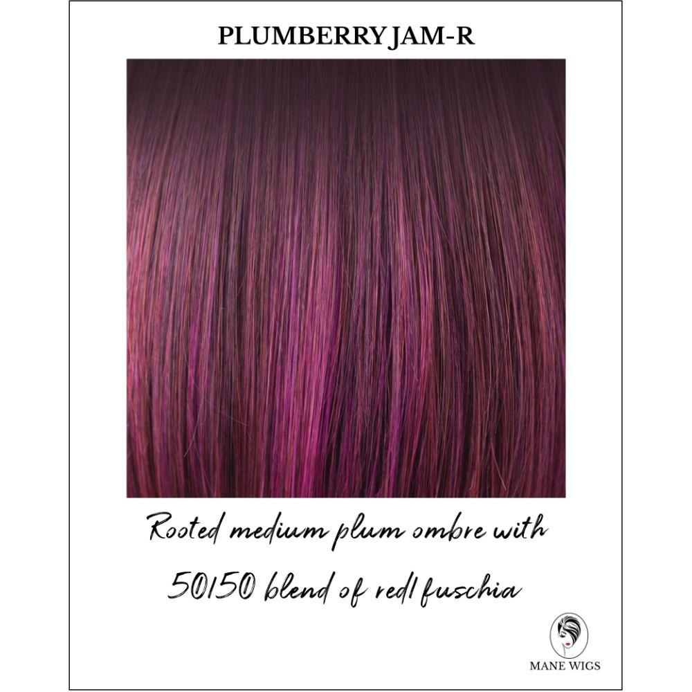 Plumberry Jam-R-Rooted medium plum ombre with 50/50 blend of red/fuschia
