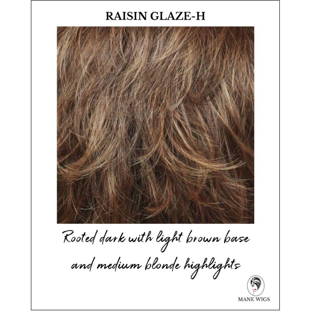 Raisin Glaze-H-Rooted dark with light brown base and medium blonde highlights
