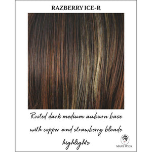 Razberry Ice-R-Rooted dark medium auburn base with copper and strawberry blonde highlights