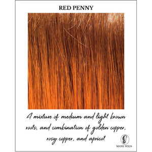 Red Penny-A mixture of medium and light brown roots, and combination of golden copper, rosy copper, and apricot