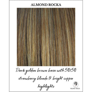 Almond Rocka-Dark golden brown base with 50/50 strawberry blonde & bright copper highlights