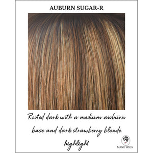 Auburn Sugar-R-Rooted dark with a medium auburn base and dark strawberry blonde highlight