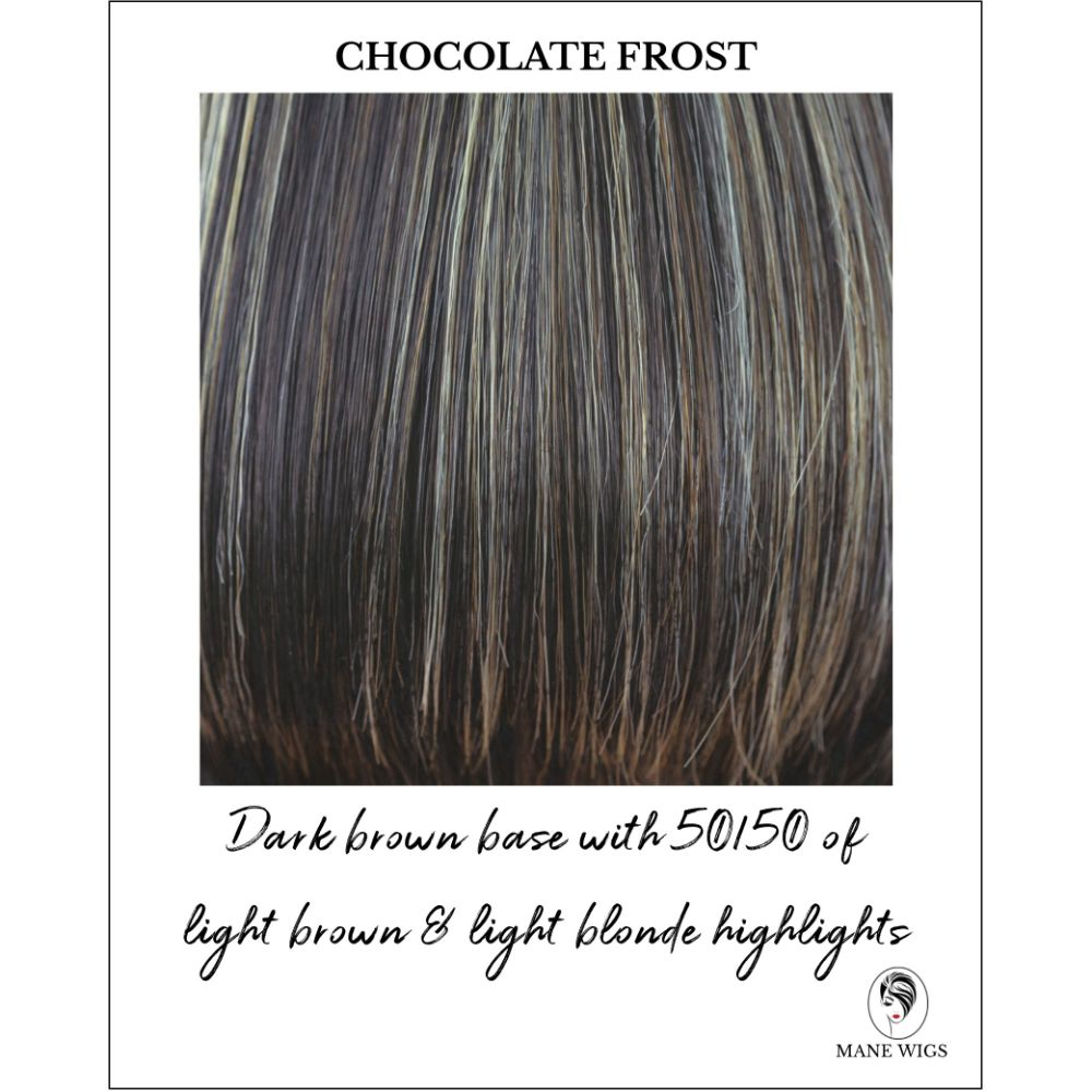 Chocolate Frost-Dark brown base with 50/50 of light brown & light blonde highlights