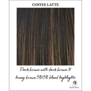 Coffee Latte-Dark brown with dark brown & honey brown 50/50 blend highlights