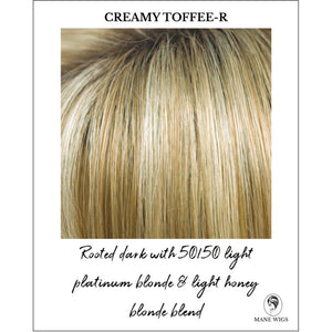 Creamy Toffee-R - Rooted dark with 50/50 light platinum blonde & light honey blonde blend