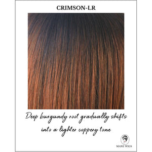 Crimson-LR-Deep burgundy root gradually shifts into a lighter coppery tone