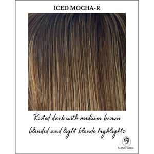 Iced Mocha-R-Rooted dark with medium brown blended and light blonde highlights