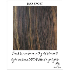 Java Frost-Dark brown base with gold blonde & light auburn 50/50 blend highlights