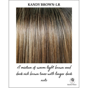 Kandy Brown-LR-A mixture of warm light brown and dark rich brown tones with long dark roots