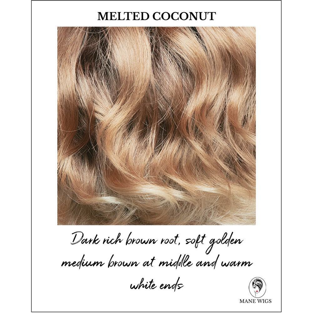 Melted Coconut -Dark rich brown root, soft golden medium brown at middle and warm white ends