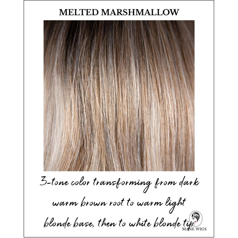 Melted Marshmallow-3-tone color transforming from dark warm brown root to warm light blonde base, then to white blonde tip