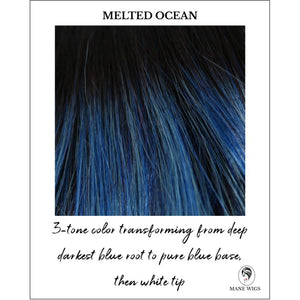 Melted Ocean-3-tone color transforming from deep darkest blue root to pure blue base, then white tip