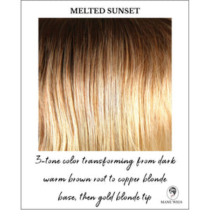 Melted Sunset-3-tone color transforming from dark warm brown root to copper blonde base, then gold blonde tip
