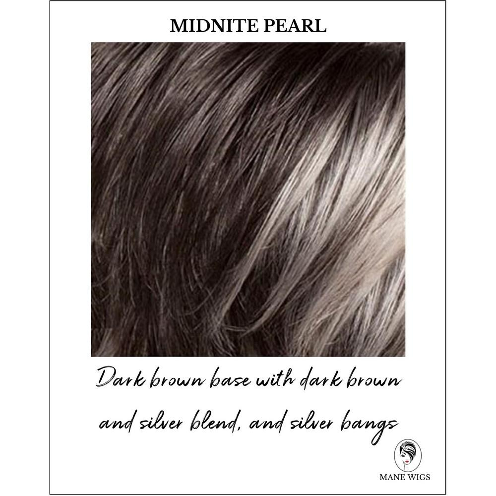 Midnite Pearl - Dark brown base with dark brown and silver blend, with silver bangs