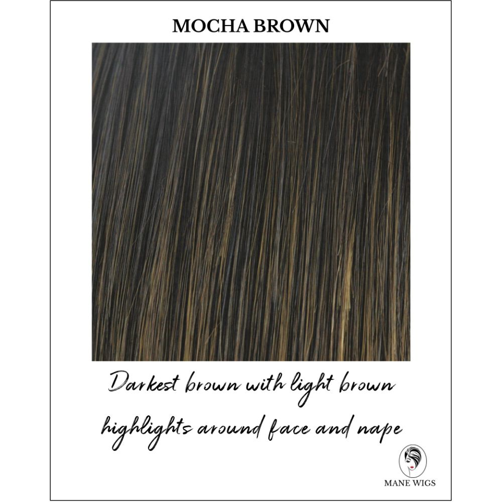 Mocha Brown-Darkest brown with light brown highlights around face and nape