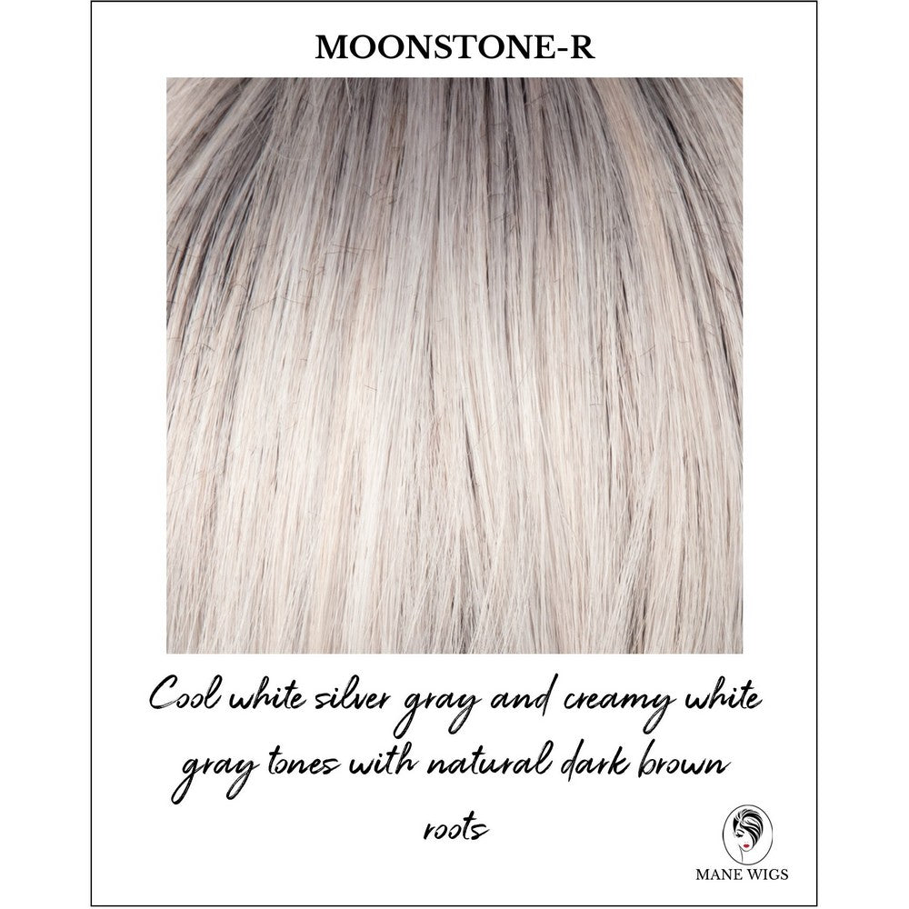 Moonstone-R-Cool white silver gray and creamy white gray tones with natural dark brown roots