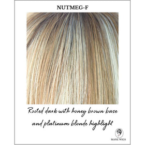 Nutmeg-F-Rooted dark with honey brown base and platinum blonde highlight