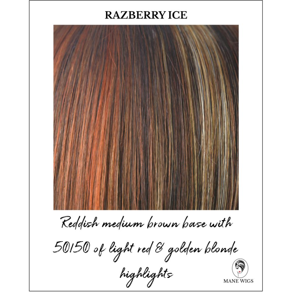 Razberry Ice-Reddish medium brown base with 50/50 of light red & golden blonde highlights
