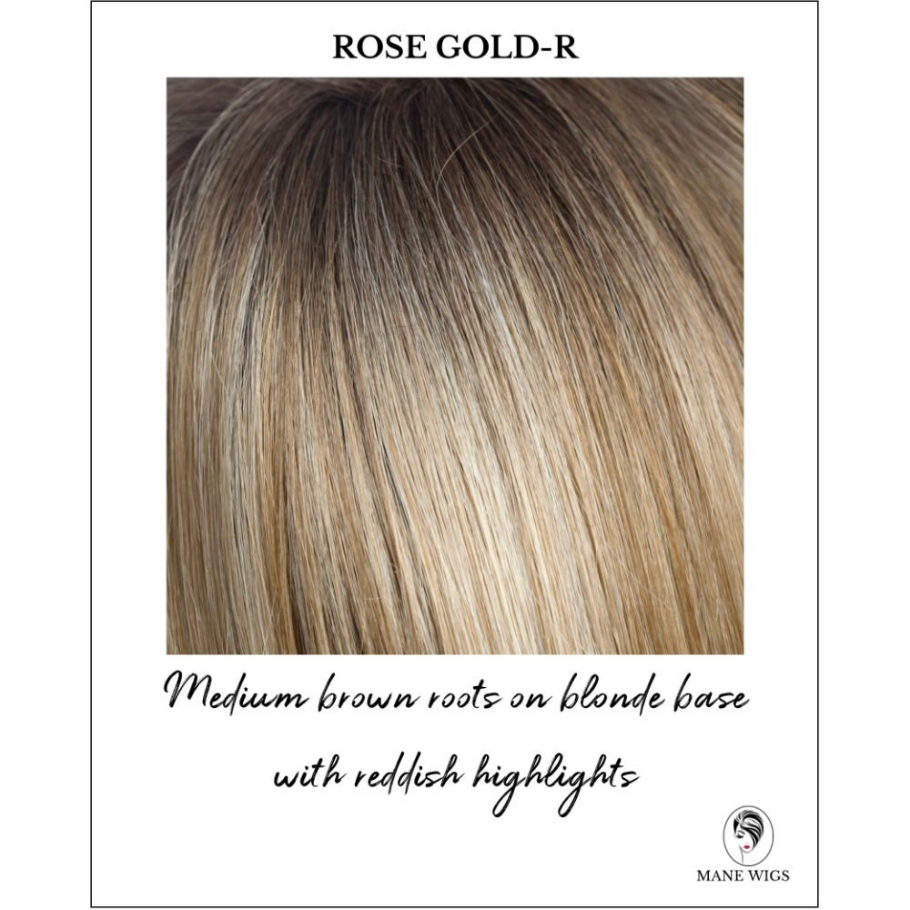Rose Gold-R-Medium brown roots on blonde base with reddish highlights