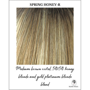 Spring Honey-R-Medium brown rooted, 50/50 honey blonde and gold platinum blonde blend