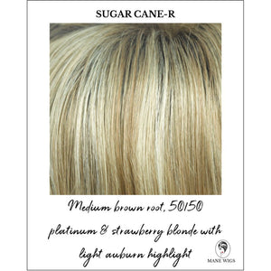 Sugar Cane-R-Medium brown root, 50/50 platinum & strawberry blonde with light auburn highlight