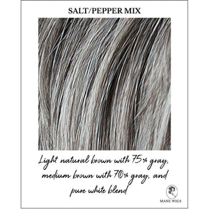 Salt/Pepper Mix-Light natural brown with 75% gray, medium brown with 70% gray and pure white blend