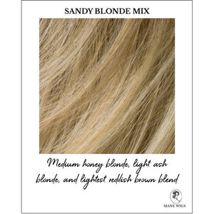 Sandy blonde Mix-Medium honey blonde, light ash blonde, and lightest reddish brown blend