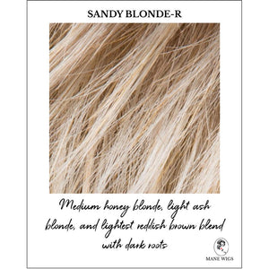 Sandy Blonde-R-Medium honey blonde, light ash blonde, and lightest reddish brown blend with dark roots
