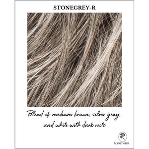 Stone Grey-R-Blend of medium brown, silver gray, and white with dark roots